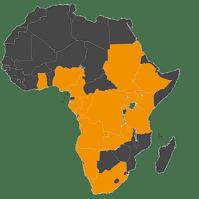 Angola, Cameroon, Congo Republic, Democratic Republic of Congo, Ethiopia, Gabon, Ghana, Kenya, Namibia, Nigeria, Rwanda, South Africa, South Sudan, Tanzania, Uganda, and Zambia